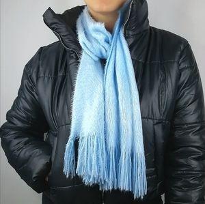 Fuzzy pastel blue long thin fringed scarf